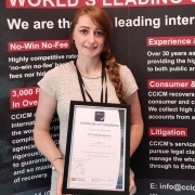 CCICM's Compliance Officer Leanne Bacigalupo with the Cyber Essentials Plus certificate