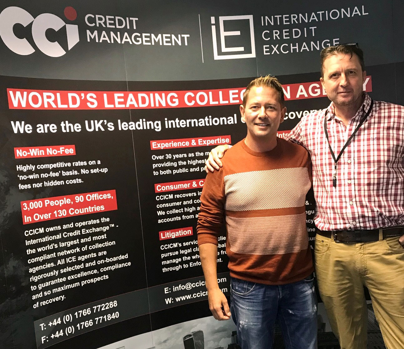 CCICM Director Paul Hackman (pictured right) discussed specialist healthcare debt collection, among other services, with his visitor (left).
